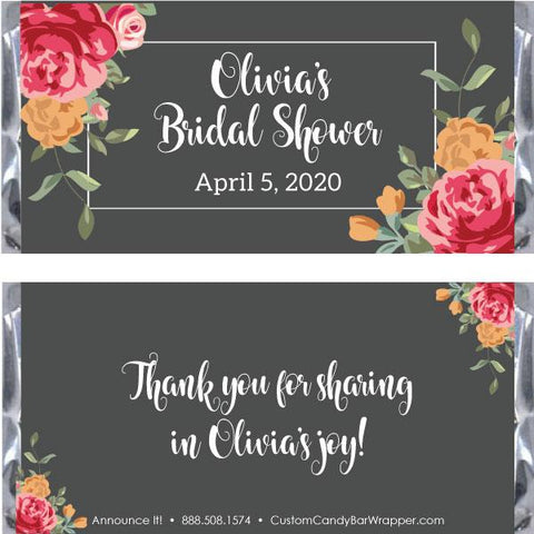 Floral Beauty Bridal Shower Candy Bar Wrappers