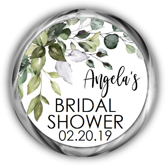 Greenery Bridal Shower Kisses Stickers