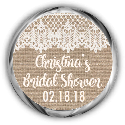 Burlap and Lace Bridal Shower Kisses Stickers