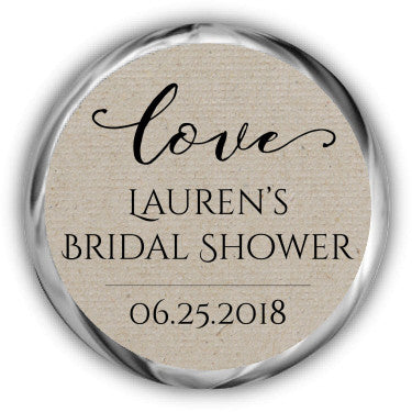 Kraft Bridal Shower Kisses Sticker