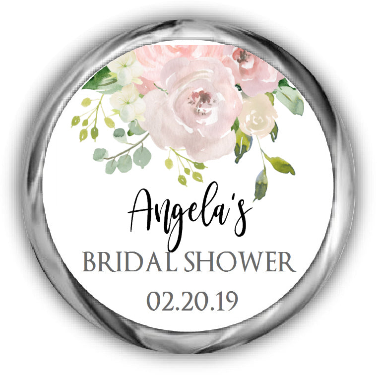 Floral Bridal Shower Kisses Stickers