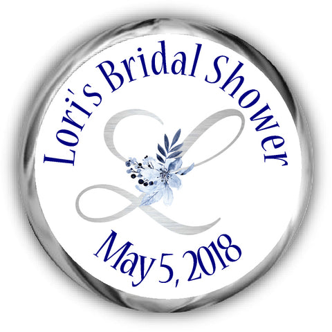 Navy Bridal Shower Hershey Kisses Stickers
