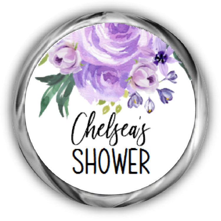 Purple Roses Bridal Shower Kisses Stickers