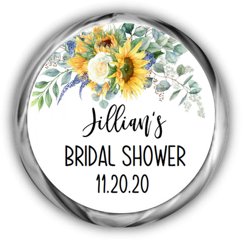 Sunflower Bridal Shower Kisses Stickers
