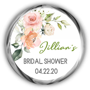 Pink Floral Personalized Bridal Shower Kisses Stickers