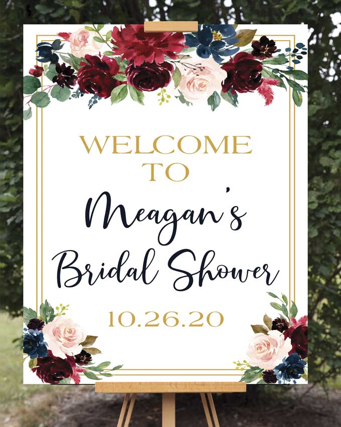 Marsala Bridal Shower Welcome Sign