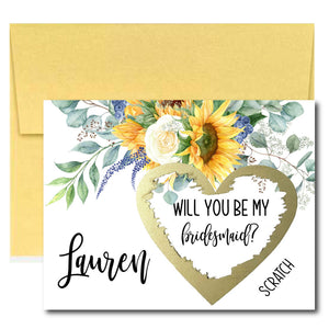 Sunflower Bridesmaid Proposal Scratch Card