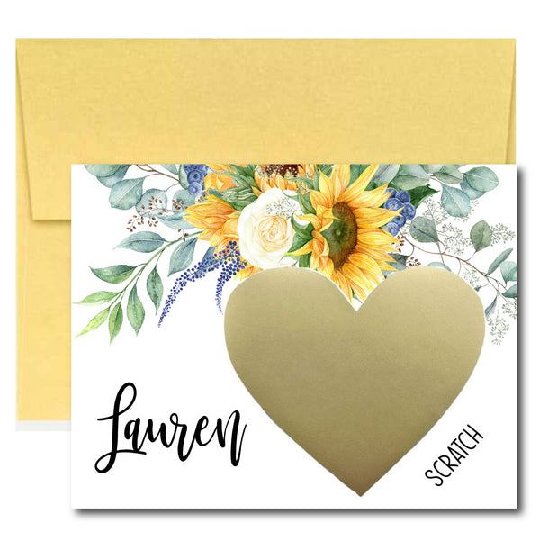 Sunflower Bridesmaid Proposal Scratch Off Card