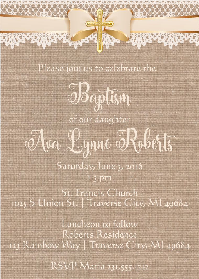 Burlap and Lace Baptism Invitations