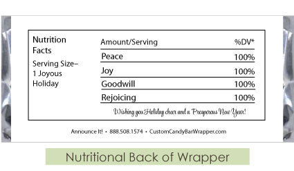Nutritional Back of Wrapper