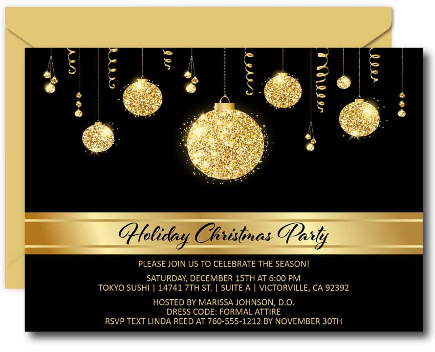Gold Bulbs Christmas Invitations