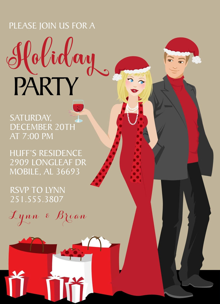 Couples Christmas Party Invitations Announce It
