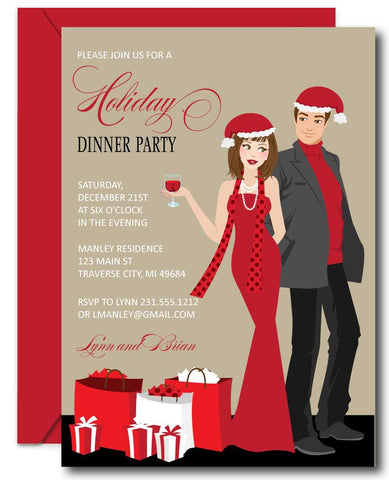 Couples Christmas Party Invitations - Brunette