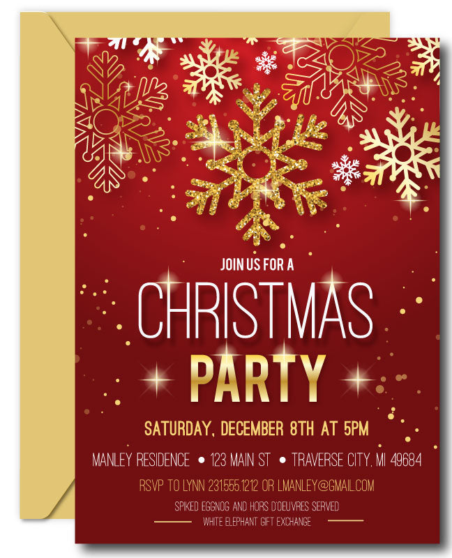 Snowflake Christmas Invitations