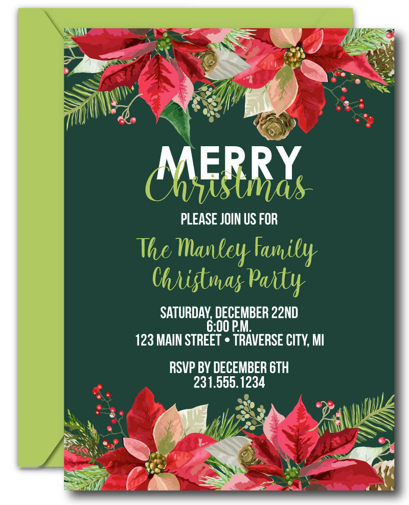 Poinsettia Christmas Invitations