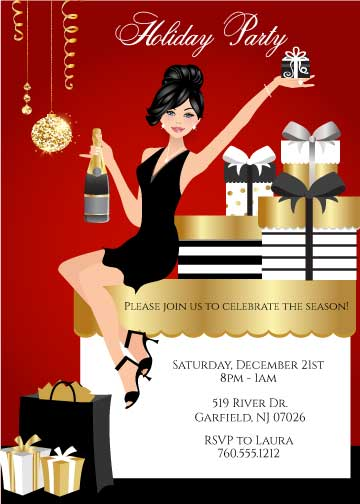 Elegant Christmas Party Invitations - Black Hair