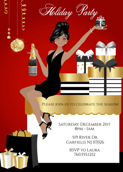 Elegant Christmas Party Invitations - African American