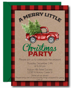 Red Truck Christmas Invitations