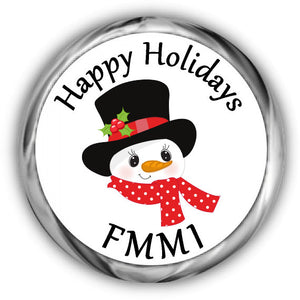 Frosty Snowman Christmas Kisses Stickers