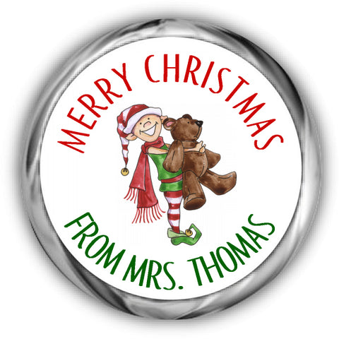 Elf Christmas Kisses Labels