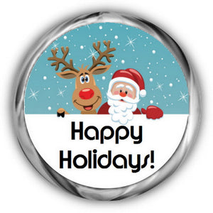 Reindeer Santa Christmas Kisses Stickers