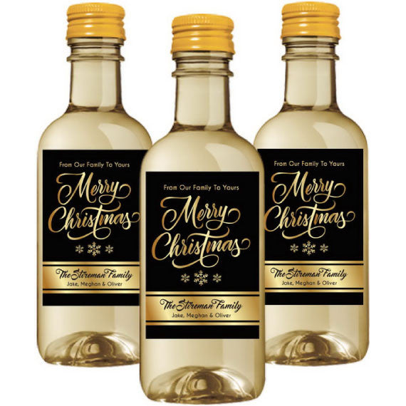 Gold Christmas Mini Wine Label