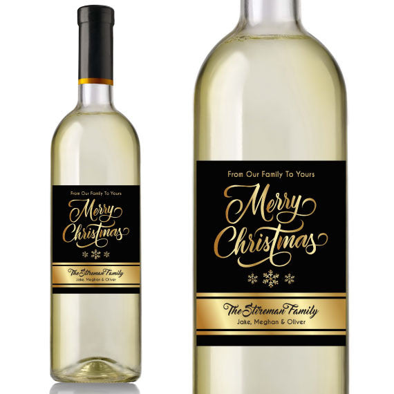 Gold Christmas Wine Labels