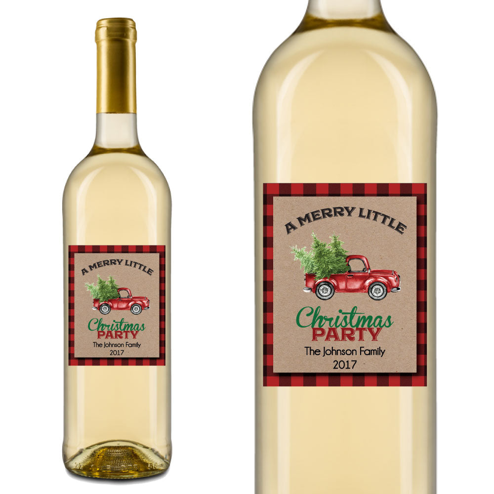 Red Truck Christmas Wine Labels