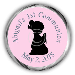 Girl Praying First Communion Kisses Stickers