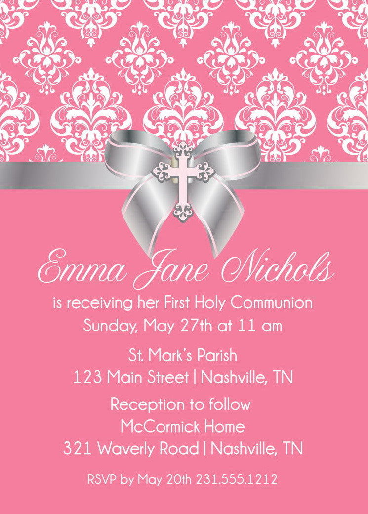 Damask Bow First Communion Invitation