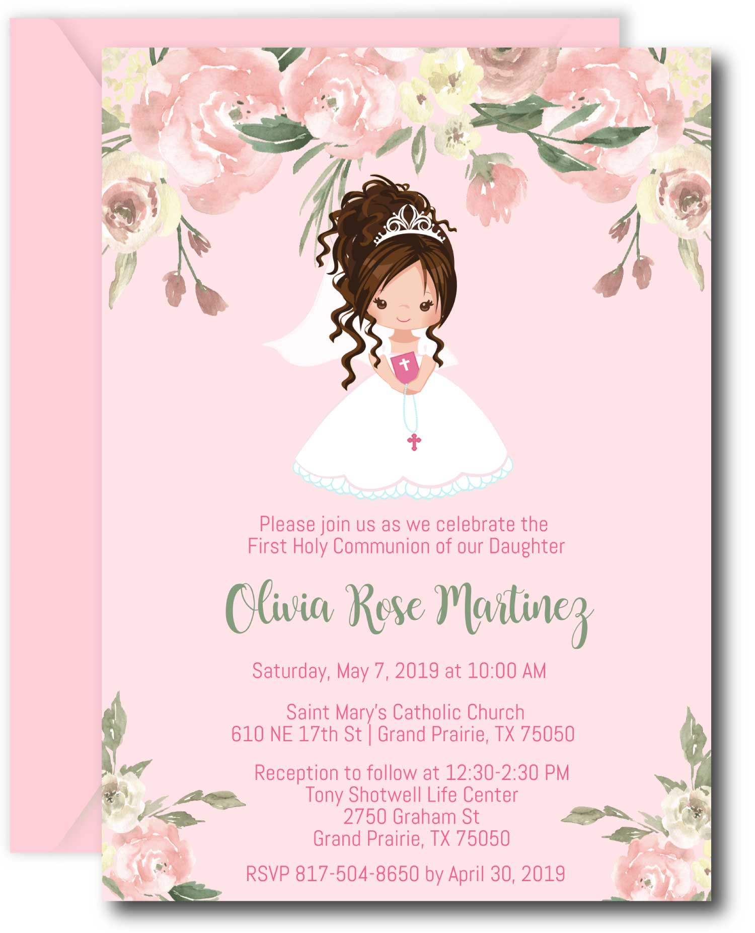 Floral Girl First Communion Invitations - Brunette