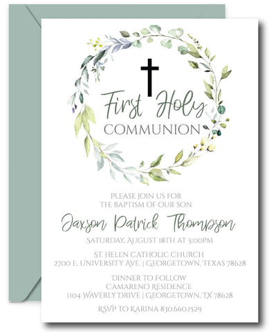 Greenery First Communion Invitations