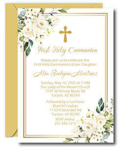 White Floral First Communion Invitations