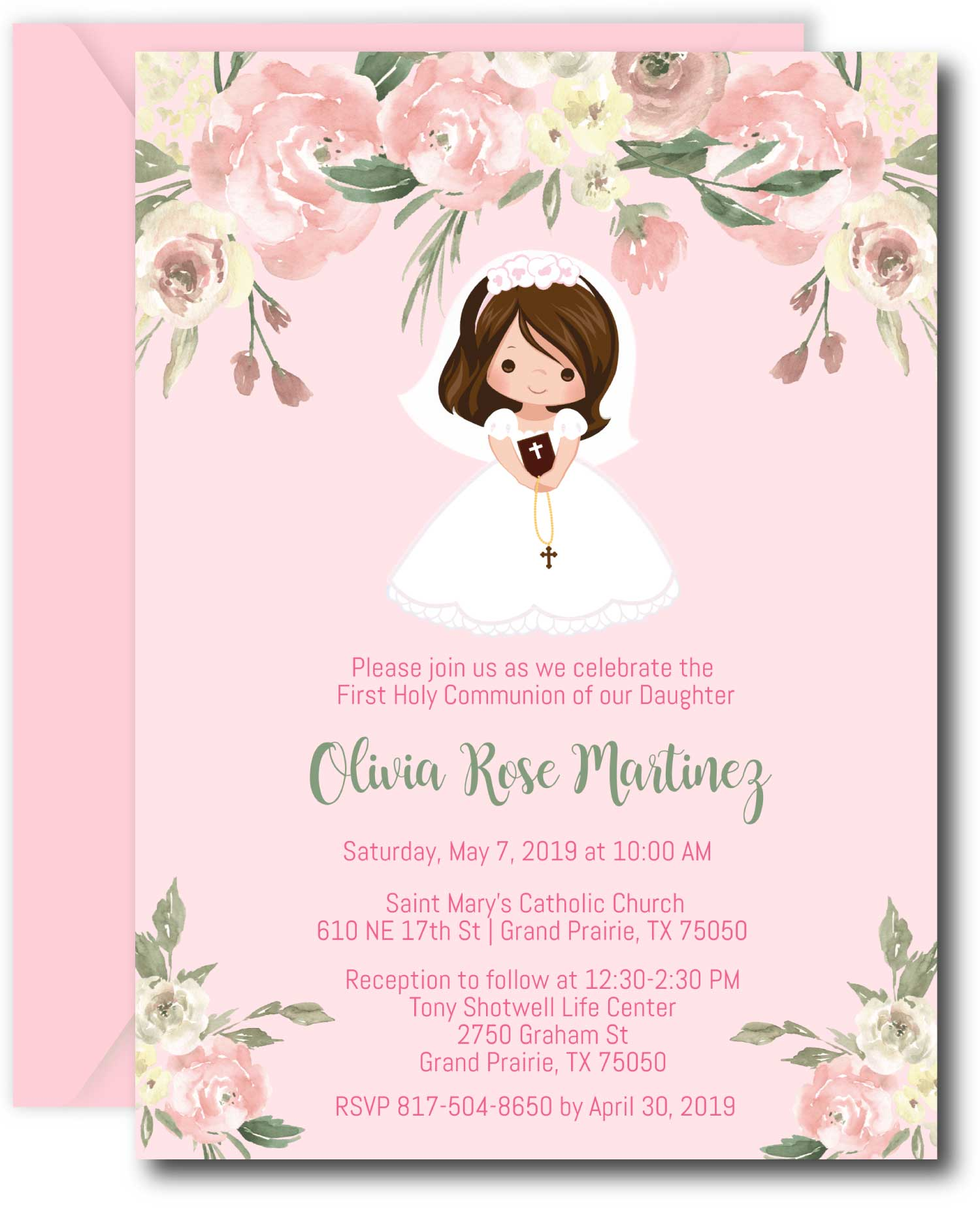Girl First Communion Invitations - Brunette