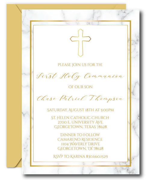 Girl First Communion Invitations - Blonde Hair