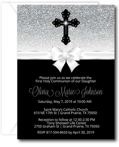 Diamond Cross First Communion Invitation