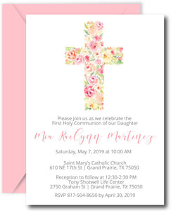 Cross First Communion Invitations