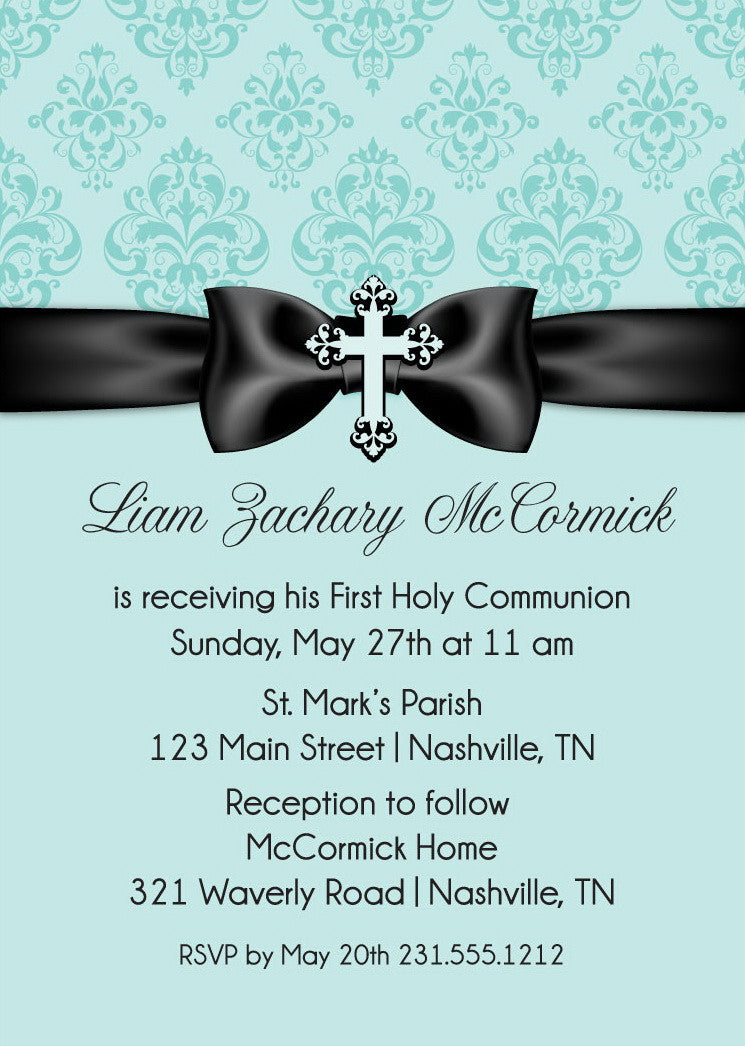 Damask Ribbon First Communion Invitations