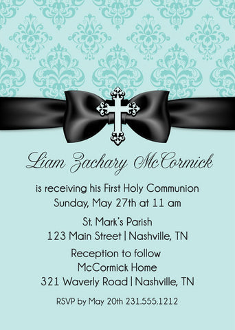 First communion invitations announce it damask ribbon first communion invitations solutioingenieria Choice Image