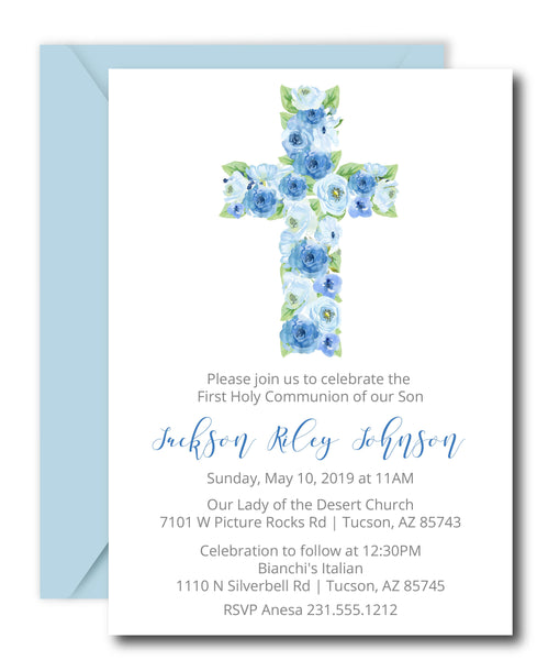 Blue Cross First Communion Invitations
