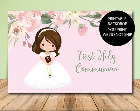 Girl Communion Backdrop - Printable