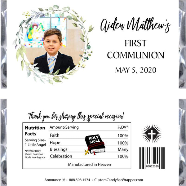 Greenery Picture Communion Candy Bar Wrappers