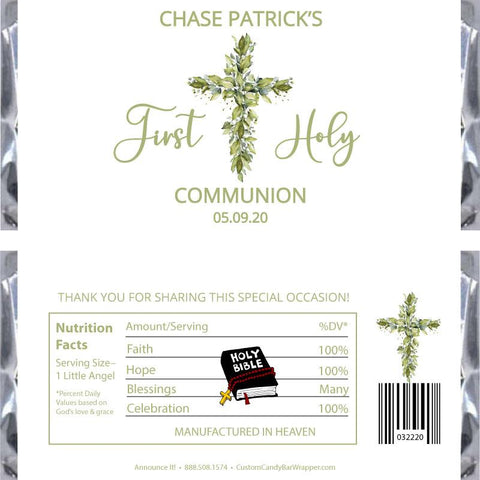 Greenery Cross First Communion Candy Bar Wrapper