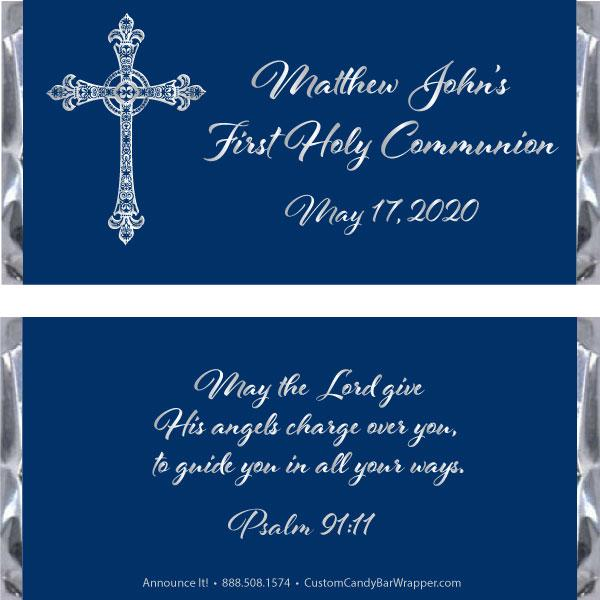 Swirly Cross First Communion Candy Bar Wrapper