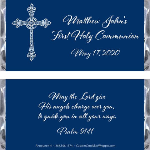 Swirly Cross First Communion Candy Bar Wrappers