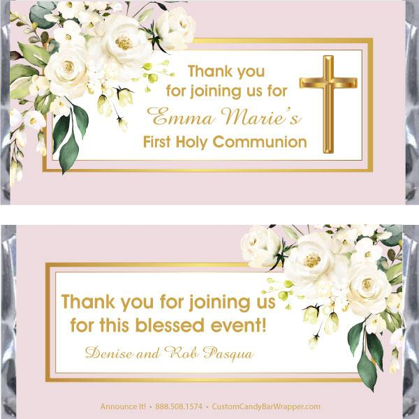Elegant First Communion Candy Bar Wrappers
