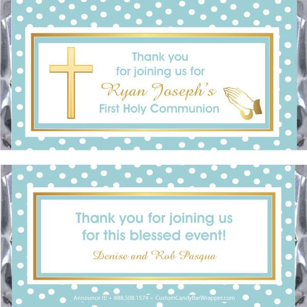 Dotted Cross First Communion Candy Bar Wrapper