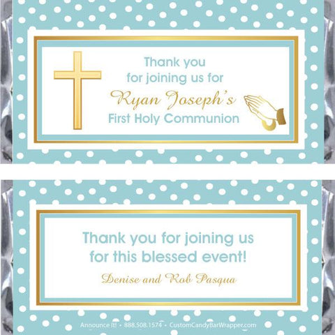 Dotted Cross First Communion Candy Bar Wrappers