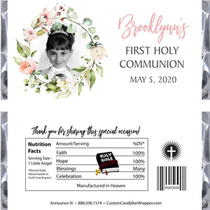 Floral Photo Communion Candy Bar Wrappers