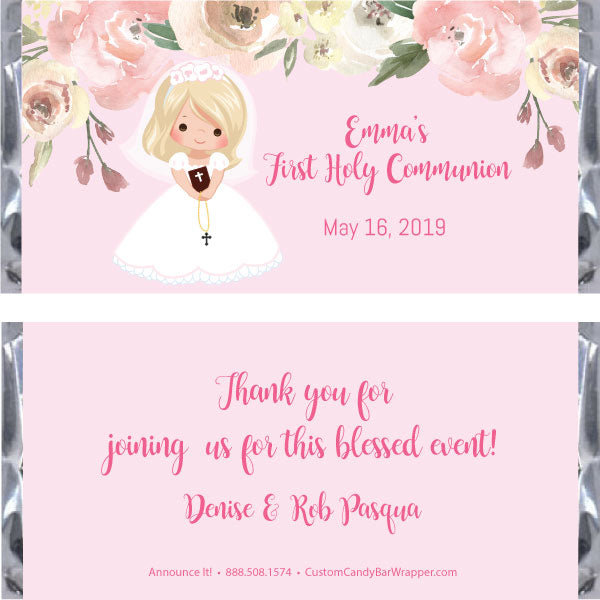 Girl First Communion Candy Bar Wrapper - Blonde